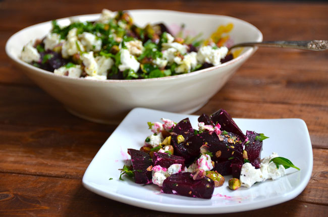 beet and goat cheese salad for breakfast