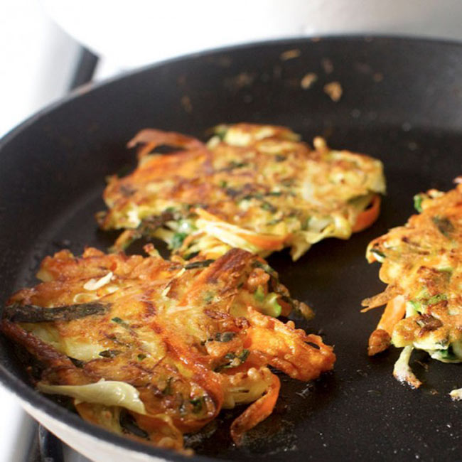 japanese breakfast pancakes with kale cabbage and carrots