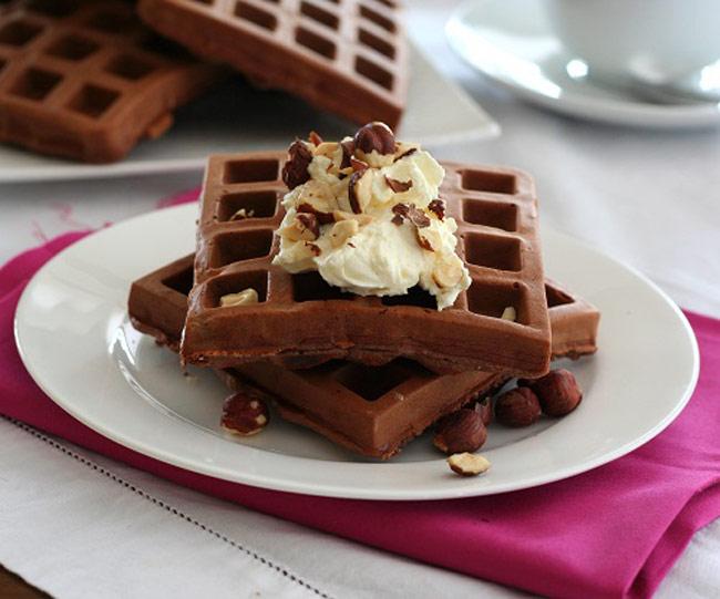 chocolate hazelnut gluten free waffles