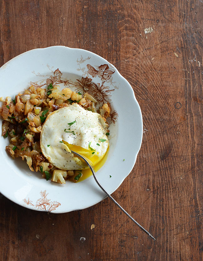 cauliflower hash with a runny egg for breakfast
